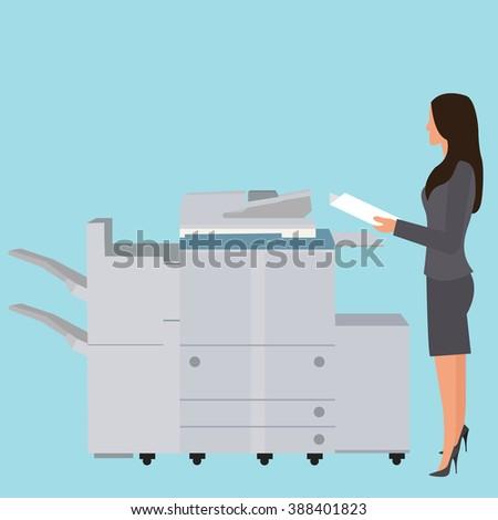 photo copy copier machine office woman standing copying document  big photocopier - stock vector