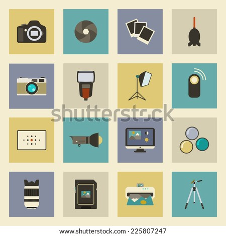 Photo equipment flat icons set - stock vector