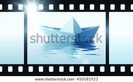 Photo film with origami boat. Vector illustration of paper ship on water - stock vector