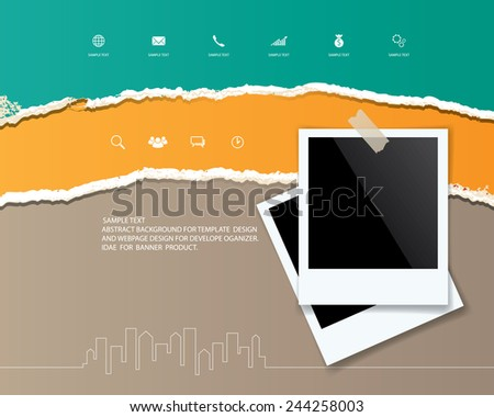 Photo frame on abstract ripped paper background. Vector illustration. - stock vector