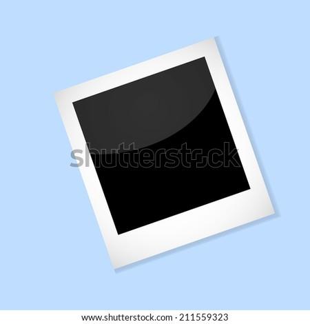 Photo frame on blue background. Vector illustration. - stock vector