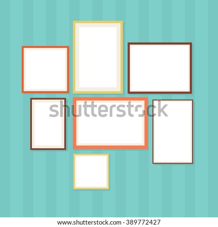 Photo frame vector illustration. Photo frame set in flat style. Photo frame isolated on a retro background - stock vector