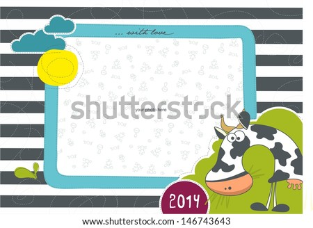 Photo frame with animals. Cow. - stock vector