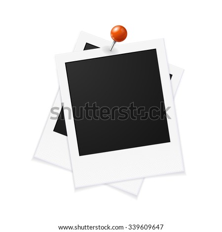 Photo Frames and Red Pin. Vector illustration - stock vector