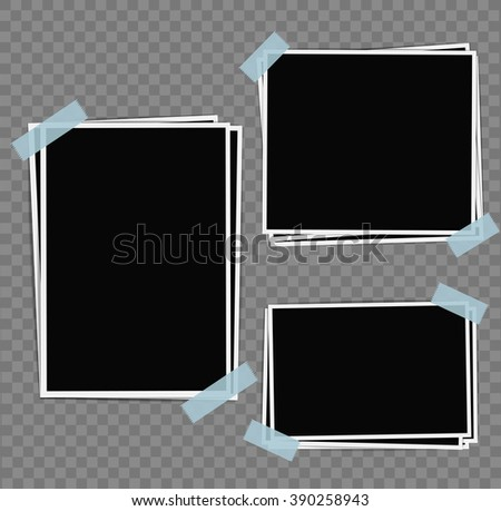 Photo frames composition with tape on transparent background. Vector design template - stock vector