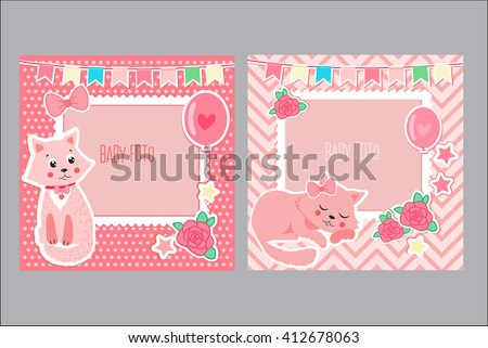 Photo Frames For Kids. Decorative Template For Baby Girl. Photo Frames For Girl With Cute Cat. Postcard Frame. - stock vector