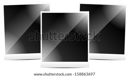 Photo frames, instant photoframes wih isolated reflection. Photoalbum, showcase. - stock vector