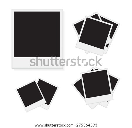 Photo frames isolated on white background.Polaroid photo frames.Vector illustration. - stock vector
