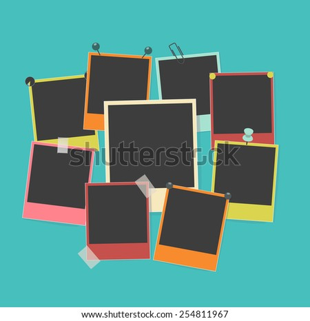 photo frames on retro background - stock vector