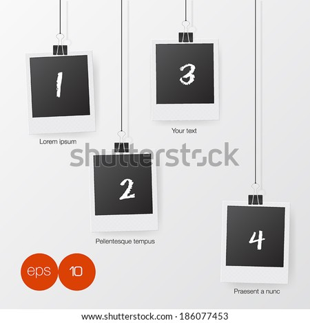 Photo Frames on rope. Vector illustration. - stock vector