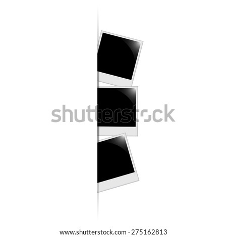 Photo frames on the wall with the text vector - stock vector