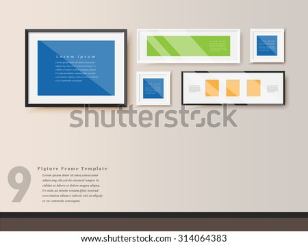 Photo frames on wall. Vector Design. - stock vector