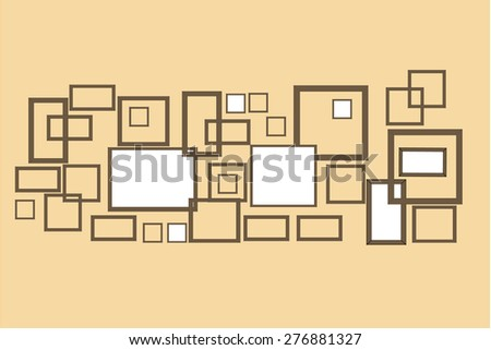 Photo frames on wall. Vector vintage picture frames - stock vector