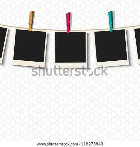 Photo Frames with clothespins.Vector illustration - stock vector