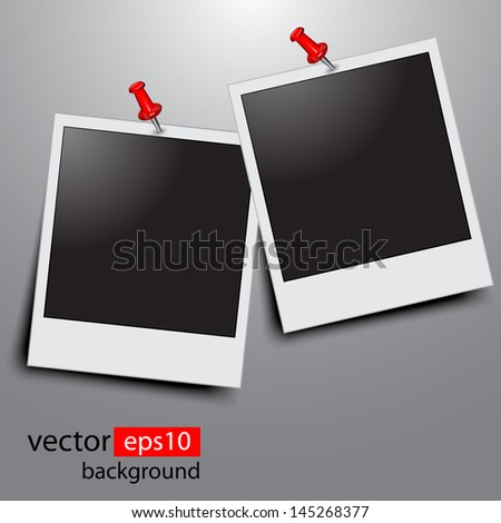 Photo frames with push pins - stock vector