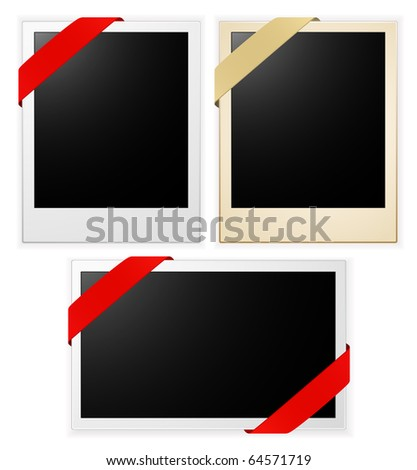 photo frames with ribbon - stock vector