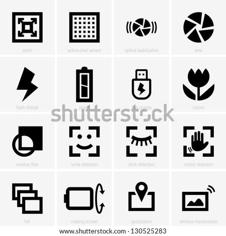 Photo icons - stock vector