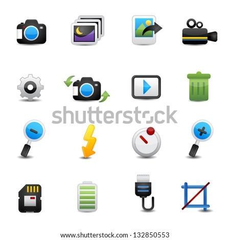 photo icons set - stock vector