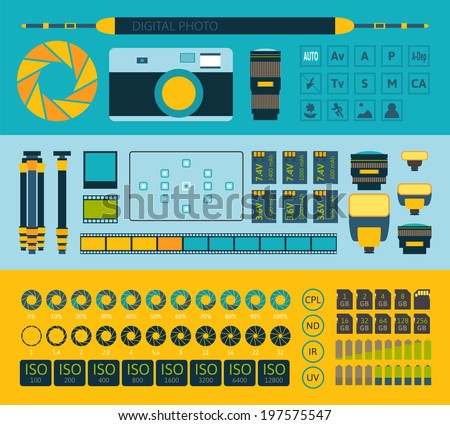 Photo infographics set, vector illustration, part one - stock vector