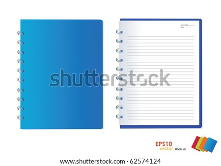 Photo of blue notebook (blank paper). Vector illustration. - stock vector