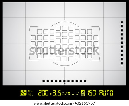 Photo or video camera viewfinder grid screen with AF dot, exposure and camera settings. Vector background - stock vector