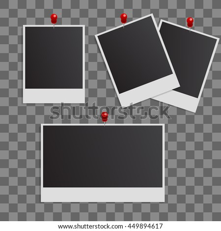 Photo polaroid frames on wall attached with pins. Photo frame and collection of retro photo picture. Vector illustration set - stock vector