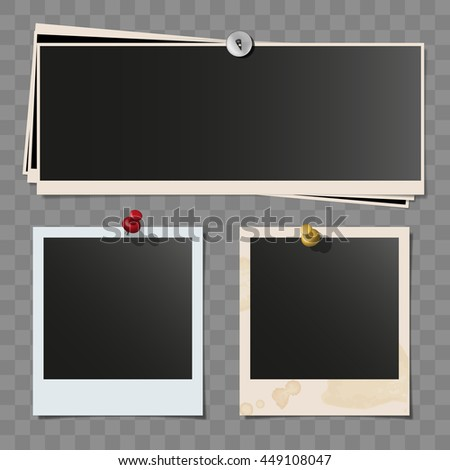 Photo polaroid frames on wall attached with pins. Retro wide dirty photo vector set isolated on white background. Wide pile of pinned frames. - stock vector