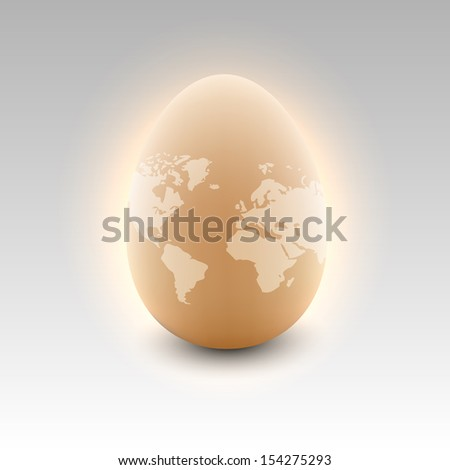 Photo-real egg with world map  - stock vector