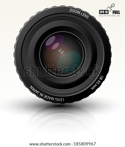 Photo realistic dslr camera lens - vector illustration   - stock vector