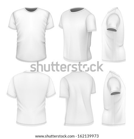 Photo-realistic vector illustration. All six views men's white short sleeve t-shirt design templates (front, back, half-turned and side views). . Illustration contains gradient mesh. - stock vector