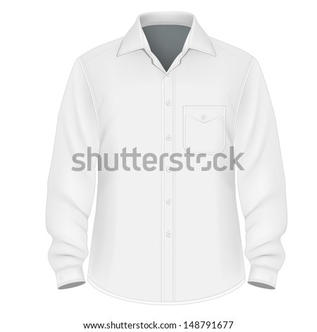 Photo-realistic vector illustration. Men's button down shirt design template (front view). Illustration contains gradient mesh. - stock vector