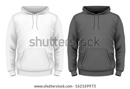 Photo-realistic vector illustration. Men's hoodie design template (front view). Illustration contains gradient mesh. - stock vector