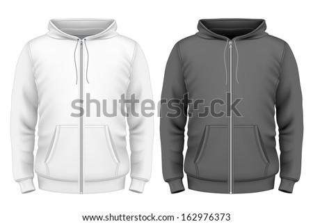 Photo-realistic vector illustration. Men's zip hoodie design template (front view). - stock vector