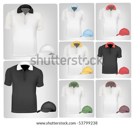 Photo-realistic vector illustration. Polo shirts and t-shirts. - stock vector