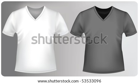 Photo-realistic vector illustration. White and black t-shirts with triangle collars. - stock vector