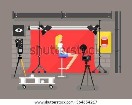 Photo studio interior with model - stock vector