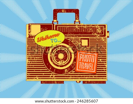 Photo travel. Vintage camera-suitcase. Retro grunge style poster. Vector illustration. - stock vector