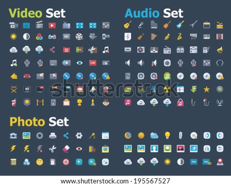 Photo, video and audio icon set - stock vector