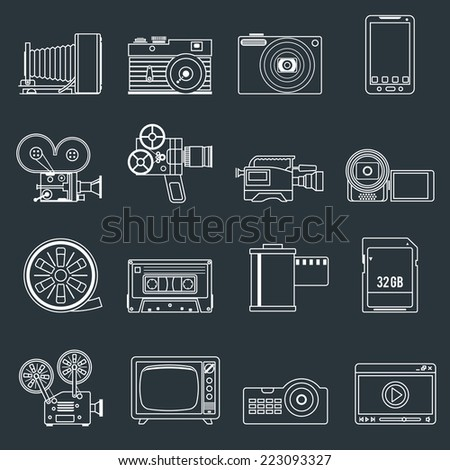 Photo video camera and multimedia professional entertainment equipment outline icons set isolated vector illustration - stock vector