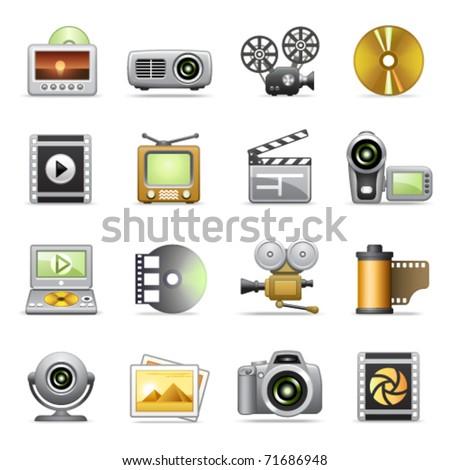 Photo & video icons - stock vector
