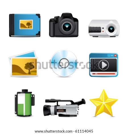 photo video premium icons - stock vector
