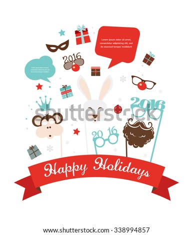 Photobooth Birthday  and new year party set. greeting  card - stock vector