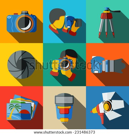 Photographer colorful flat icons set on bright squares, with - shutter, camera, photos, shooting photographers, flash, tripod, spotlight. Vector - stock vector