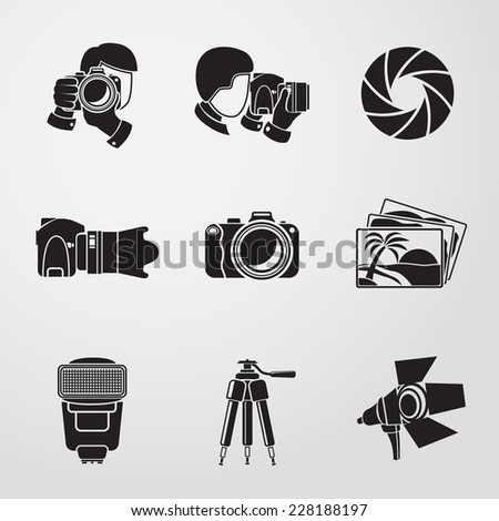 Photographer monochrome icons set with - shutter, camera, photos, shooting photographers, flash, tripod, spotlight. Vector - stock vector