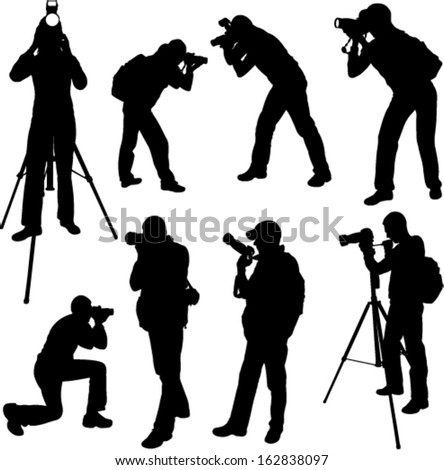 photographer silhouettes - vector 3 - stock vector
