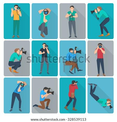 Photographer with photo camera in different poses flat avatars icons set isolated vector illustration - stock vector