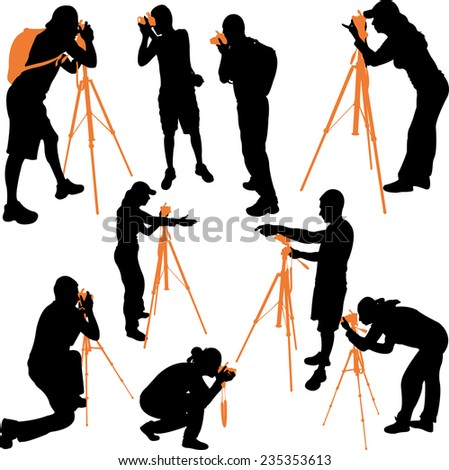 photographers silhouettes - vector - stock vector