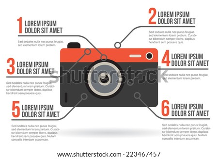 Photographic camera infographic vector illustration - stock vector