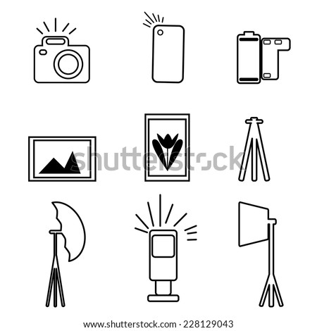 Photographic Equipment Flat Icon Set, Vector Illustration - stock vector