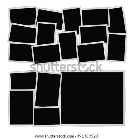 Photographic frames composition set on white - stock vector